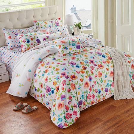 Cozzy蔻姿家纺 全棉贡缎活性印花四件套纯棉床上用品套件 七色堇 1.8米
