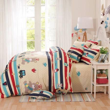 cozzy蔻姿 纯棉儿童卡通四件套婴童床上用品1.2套件枕套被套床单