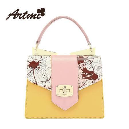 Artmi新款 时尚撞色牛皮女包甜美可爱花朵单肩手提包APF0230