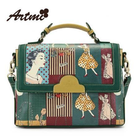 Artmi新款 复古女包手提包欧美撞色拼接斜跨包女大包APF0591