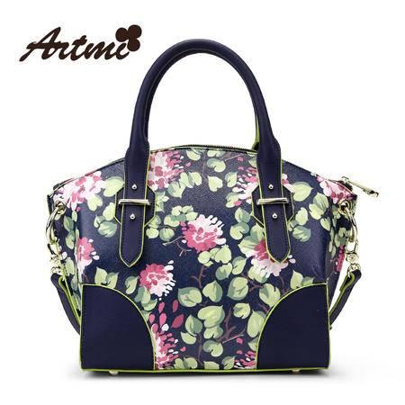 Artmi春季新品 柳钉时尚花朵复古英伦手提包女单肩斜挎包APF0653