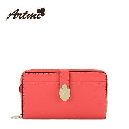 Artmi新品 欧美风纯真皮休闲长款零钱包卡包多功能女ANQ0387