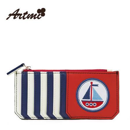 正品Artmi新款 条纹撞色手拿包女时尚复古海军风零钱包女APK0795