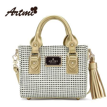 正品Artmi阿特密新款 欧美格纹手提包女流苏休闲小方包包APF0901