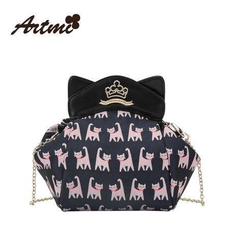 正品Artmi阿特密新款 可爱猫咪链条斜挎包女趣味化妆包包AHE0943