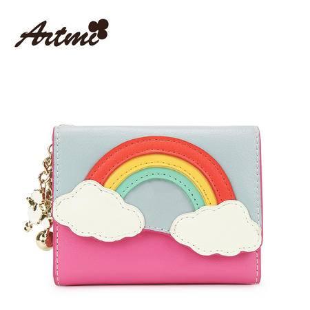正品Artmi新款 彩虹多卡位甜美可爱吊坠卡包撞色拼贴钱包APK0838