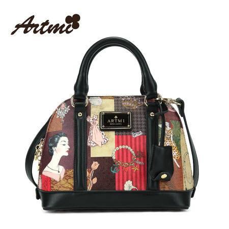 正品Artmi新款 韩版时尚复古手提包女贝壳插画单肩斜跨包APF0922