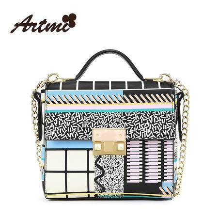 正品Artmi新款 欧美时尚链条单肩马卡龙几何图斜挎小方包APE1006