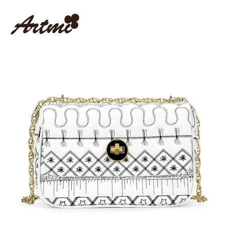 正品Artmi新款 日韩淑女链条单肩小方包潮手绘图案斜挎包APE1043