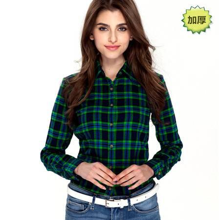 占姆士新品女士加厚保暖衬衣OL韩版修身法兰绒衬衫