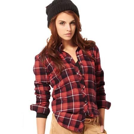 占姆士新款女士纯棉衬衫OL韩版修身法兰绒长袖休闲衬衫