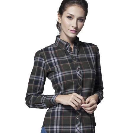 占姆士新款女士全棉时尚衬衣OL韩版修身法兰绒长袖衬衫