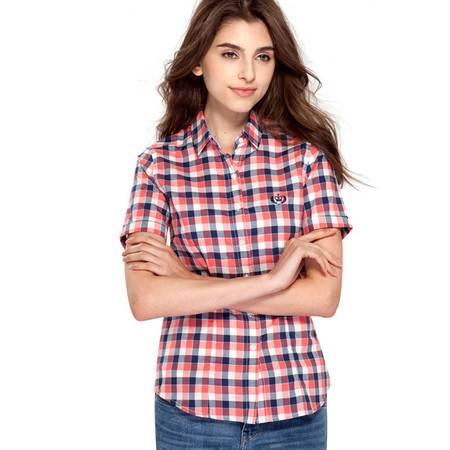 占姆士女士格子短袖衬衫全棉韩版修身休闲衬衣
