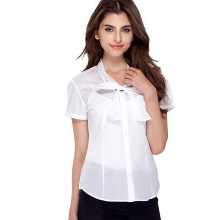 占姆士春夏新款女士全棉职业打底韩版修身休闲短袖衬衫