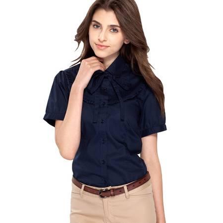 占姆士春夏新款职业韩版修身甜美休闲纯色短袖衬衫