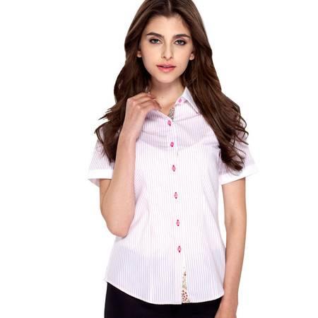 占姆士春夏新款女士棉韩版修身休闲条纹职业短袖衬衫