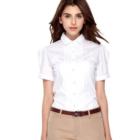 占姆士春夏新款女士韩版修身休闲蕾丝镂空白色短袖衬衫