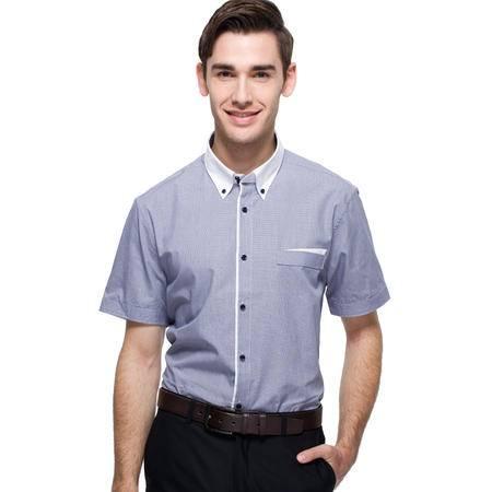 占姆士夏季男士商务典雅纯色蓝色全棉修身短袖衬衫