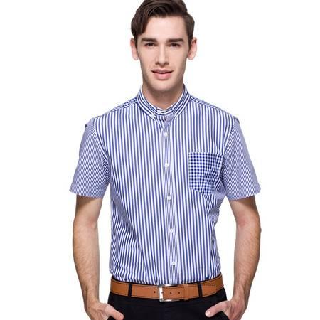 占姆士夏季男式休闲透气蓝色棉质休闲条纹短袖衬衫