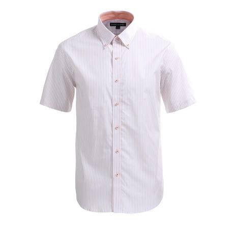 占姆士男士夏季新品英伦商务职业条纹纯棉正装短袖衬衫