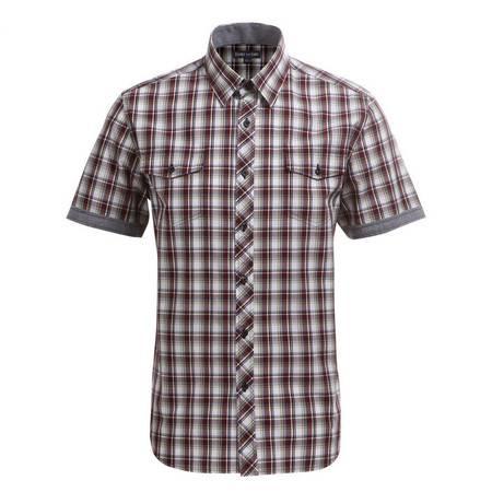 占姆士男士时尚英伦透气清新格子韩版棉质休闲短袖衬衫