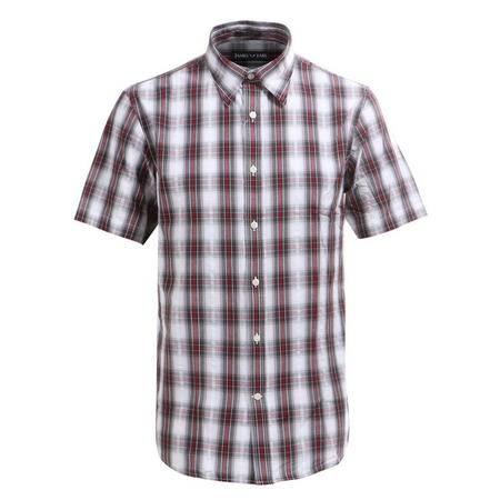 JAMESEARL占姆士男士夏季纯棉休闲格子短袖衬衫