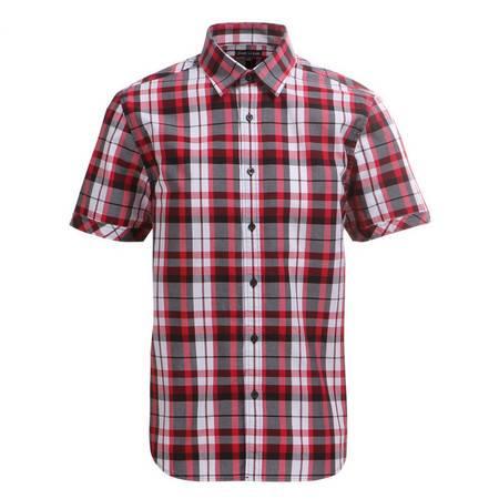占姆士男士时尚英伦休闲透气格子格纹棉质休闲短袖衬衫