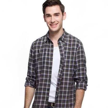 占姆士秋冬季男士长袖衬衫男休闲全棉格子衬衣潮流衬衫