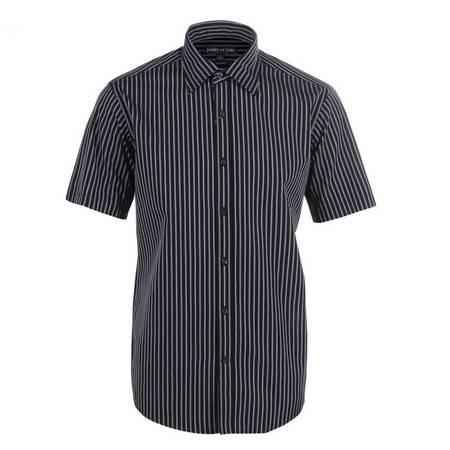 占姆士男士夏季新品爸爸装中老年全棉条纹短袖衬衫