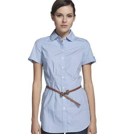 占姆士夏季女士纯棉舒适韩版修身格子短袖衬衫