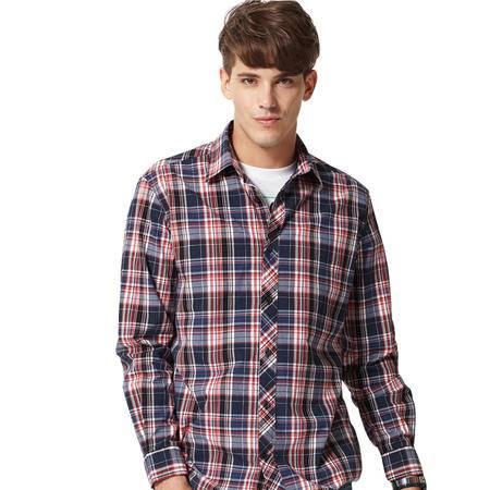 占姆士男士新款时尚休闲纯棉长袖格子衬衫