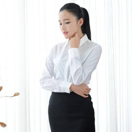 占姆士春秋新款女士商务纯色黑色长袖纯棉衬衫女修身韩版衬衣