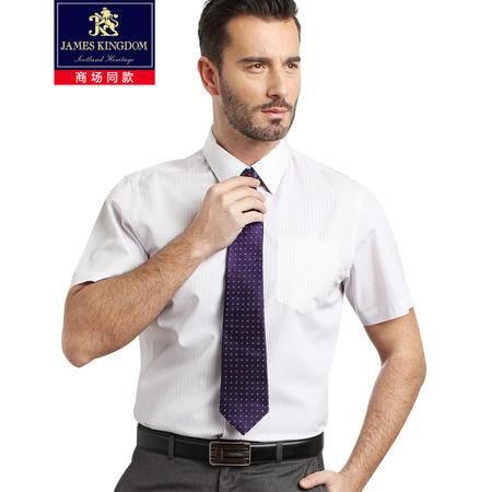 占姆士男士高支免烫商务短袖衬衫浅紫色条纹 BA035146033浅紫色