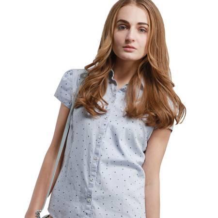JamesPrincess女士夏季短袖时尚波点衬衫修身款