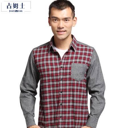 占姆士JAMES EARL秋冬新款韩版纯棉法兰绒直版男式时尚休闲拼接格子长袖衬衫
