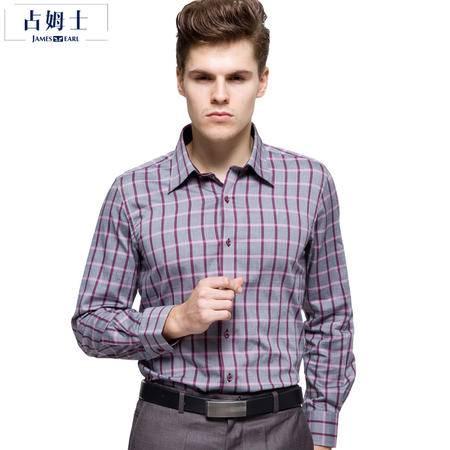 JamesEarl占姆士男士秋冬新品韩版修身英伦时尚商务长袖衬衫