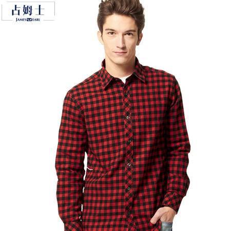 占姆士JAMES EARL秋冬新款韩版纯棉法兰绒常规宽松男装时尚休闲格子长袖衬衫