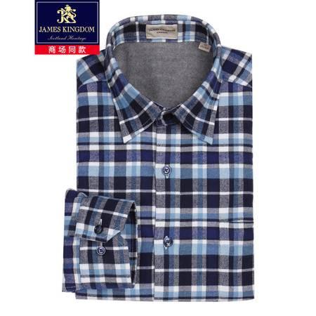 占姆士Jameskingdom秋冬男士加绒小细绒加厚绒布长袖保暖格子衬衫