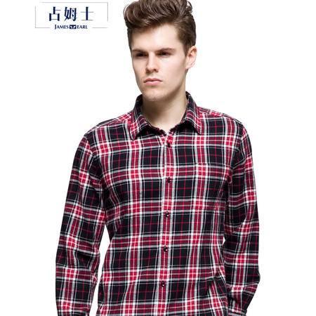 占姆士秋冬装男士长袖衬衫法兰绒纯棉格子衬衣休闲