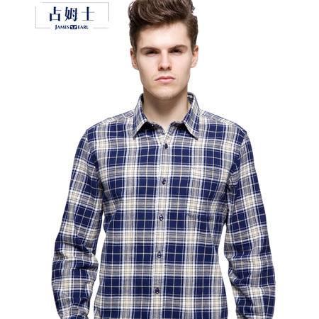 占姆士秋冬新款韩版纯棉法兰绒磨毛男装时尚休闲格子长袖衬衫