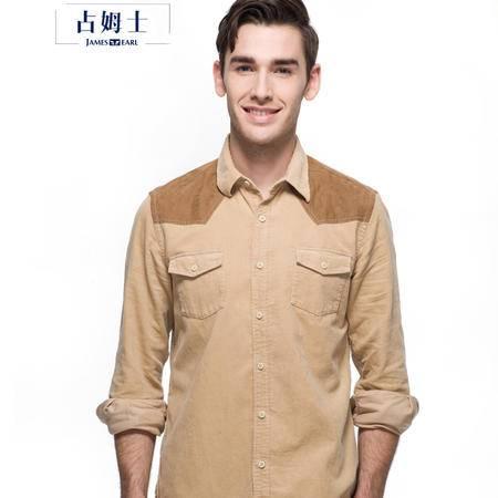占姆士 秋冬灯芯绒衬衫男长袖纯棉纯色修身保暖衬衣时尚拼接休闲