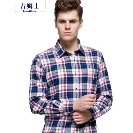 占姆士秋冬新款法兰绒常规男装时尚休闲格子长袖衬衫