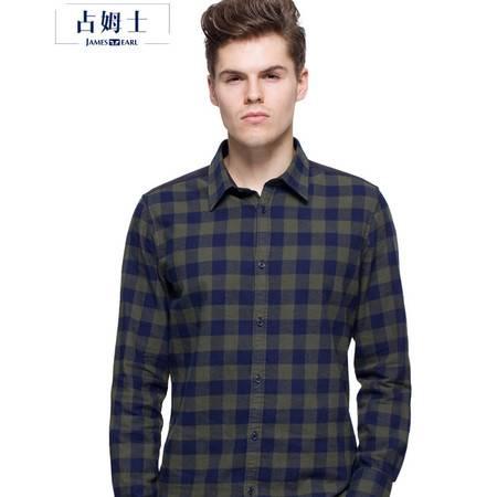 占姆士秋冬新款纯棉法兰绒男装时尚休闲格子长袖衬衫
