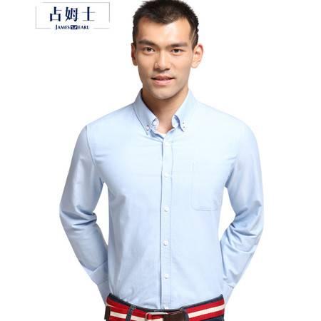 占姆士春秋新款纯棉牛津纺男士长袖衬衫纯色休闲白衬衣