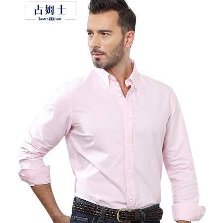 占姆士爸爸装纯棉牛津纺男士长袖衬衫男宽松休闲大码纯色商务衬衣