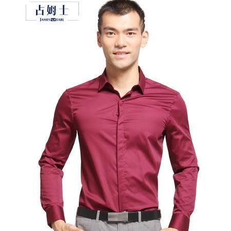 占姆士JAMES EARL秋冬新款韩版纯棉磨毛修身男装职业商务OL纯色长袖衬衫