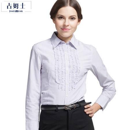 占姆士春秋职业衬衫女长袖修身显瘦碎花边商务条纹正装大码OL衬衣
