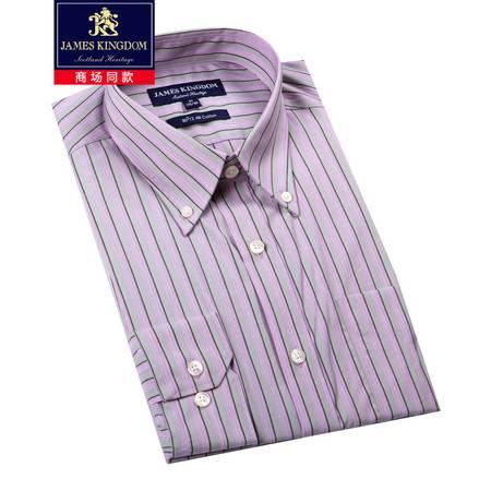 JamesKingdom专柜同款男士时尚商务高支免烫120S/2条纹正装长袖衬衫