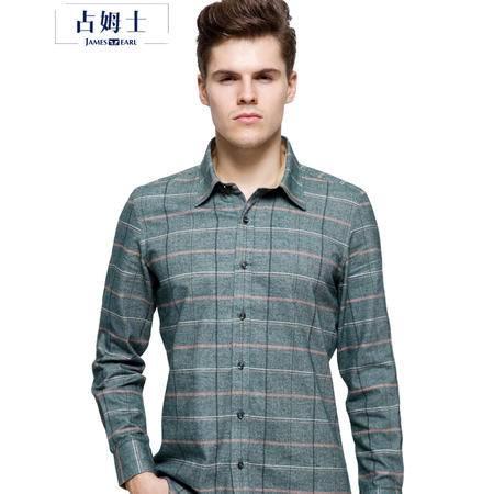 占姆士男士秋冬新品韩版修身英伦时尚商务长袖衬衫