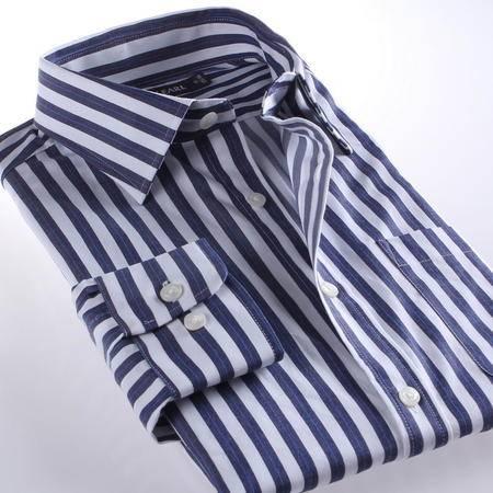 占姆士男士时尚正装职业商务深藏青条纹长袖衬衫